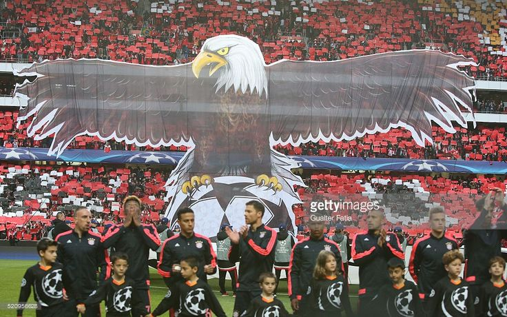 SL Benfica's supporters before the start of the UEFA Champions League Quarter Final: Second Leg match between SL Benfica and FC Bayern Munchen at Estadio da Luz on April 13, 2016 in Lisbon, Portugal.