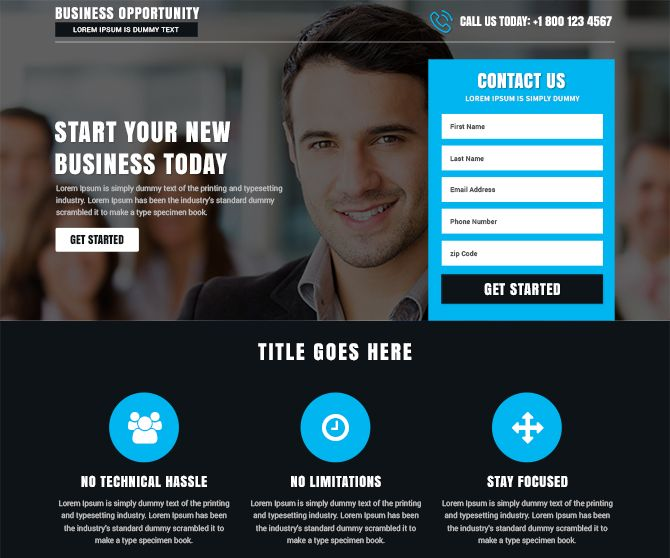 affordable responsive business opportunity landing page template