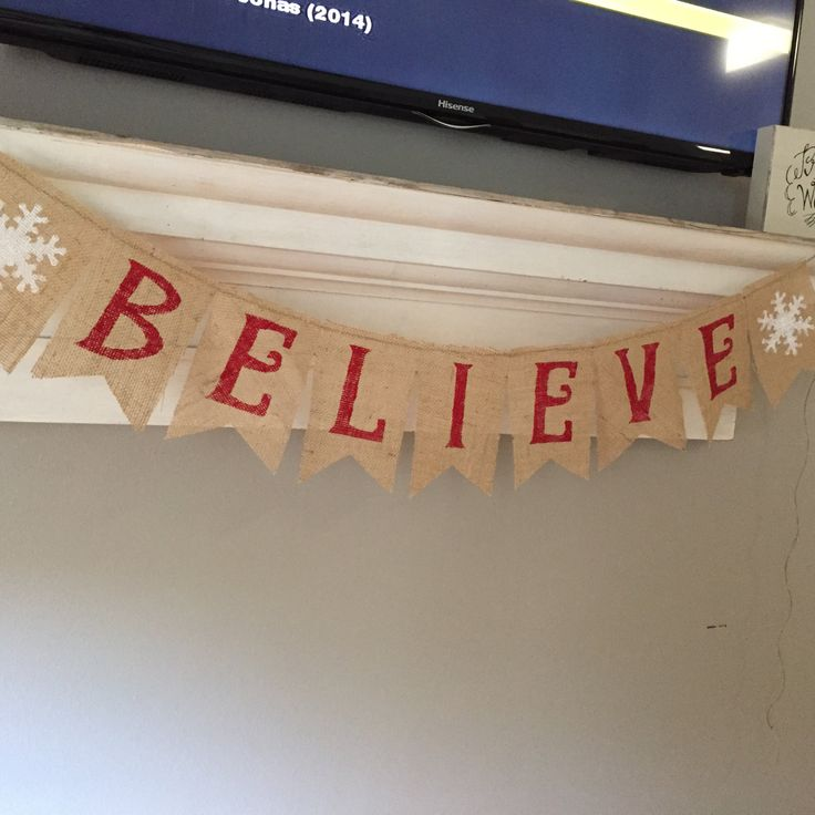 Christmas Believe Burlap Banner by VERABUG1 on Etsy