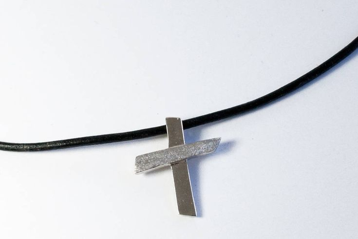 Silver cross necklace, leather rope, contemporary silver cross, textured silver cross, silver cross pendant, handmade silver cross leather