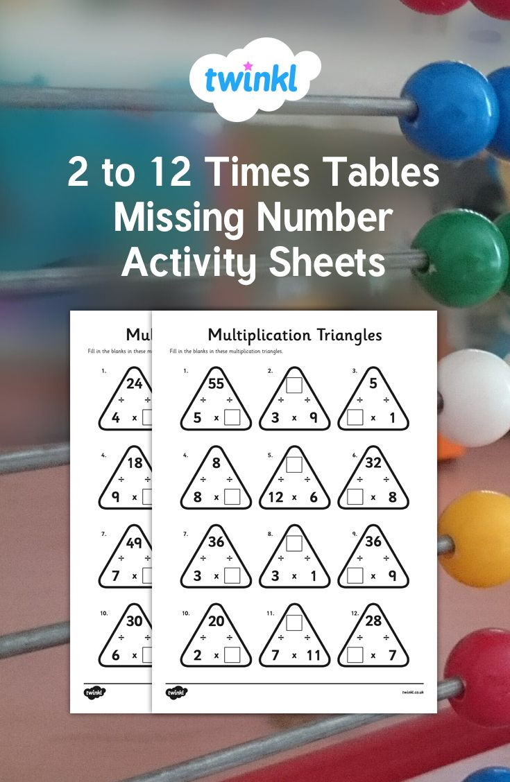2 To 12 Times Tables Missing Number Activity Sheets Times Tables Numbers For Kids Times Tables Activities