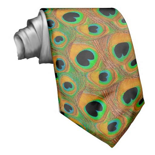 Peacock feather print men's tie in shades of tangerine, orange, aqua, turquoise, green, and black. A unique tie perfect to wear for peacock feather themed weddings, engagement parties, prom, homecoming, date nights, and more. For weddings, order multiples for all of the groomsmen, fathers of the bride and groom, and ushers in your wedding party. #orange #tangerine #green #aqua #turquoise #black #peacock #feather #tie #men's #groom #prom #wedding #homecoming #animal #print