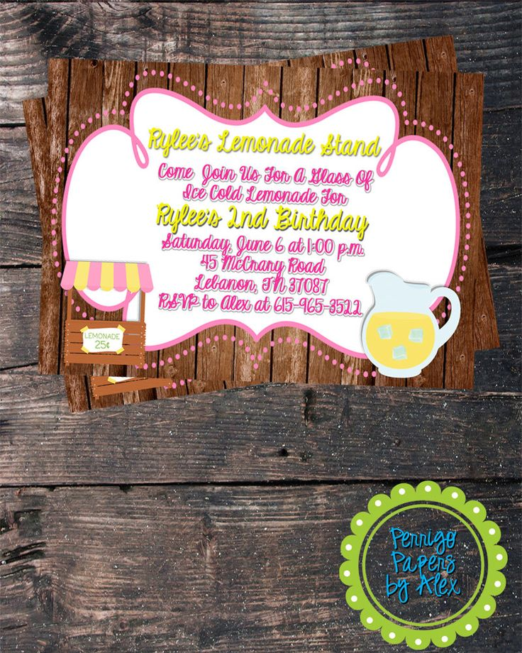 indianjones birthday party invitations printable%0A Custom Personalized Digital Pink and Yellow Lemonade Stand   Summertime   Birthday  Party   Printed
