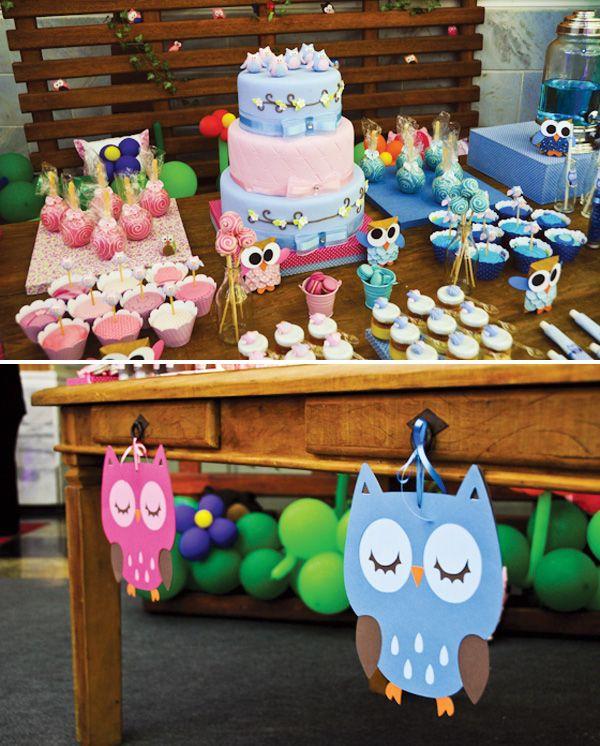 Sweet Pink & Blue Owl Dessert Table