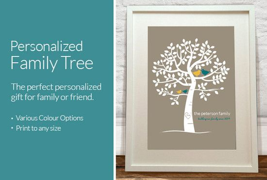 Personalized Family Tree for house warming gift, anniversary gift or Christmas present