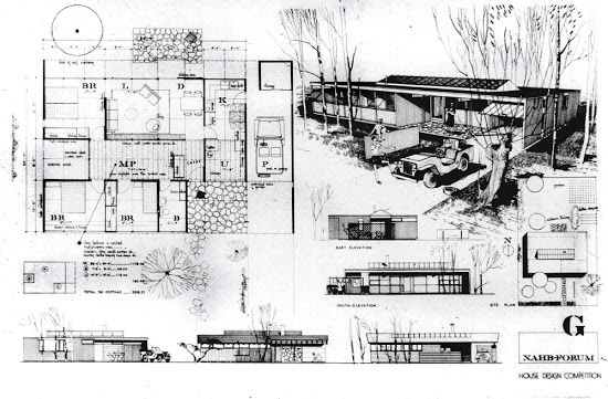 ArchitectureWeek People and Places: Ralph Rapson - Small House Competition Design