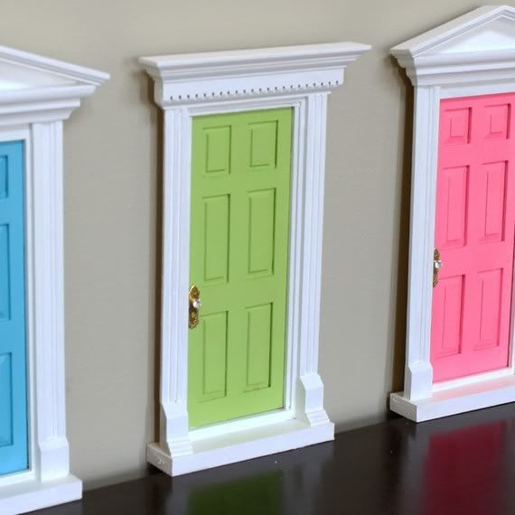 Doll house door and frame attached to the room wall for the tooth fairy can visit when they lose a tooth (or two).