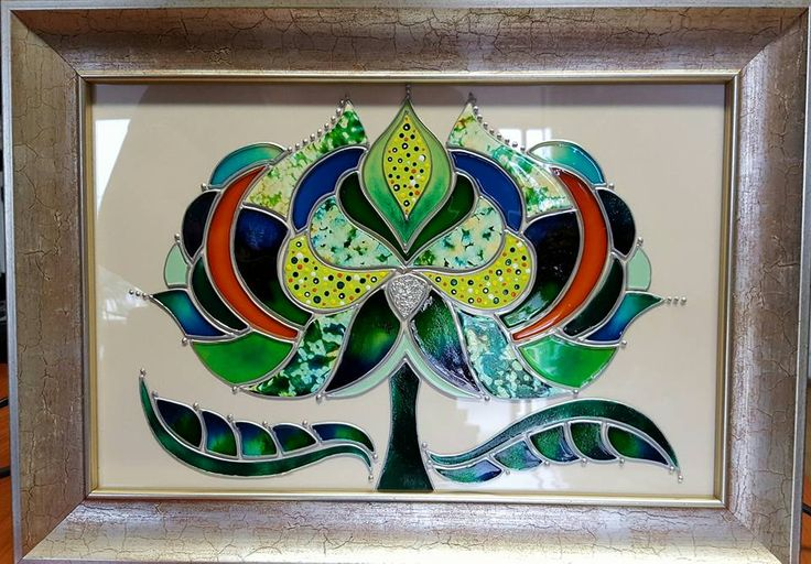 Tulip, glass painting (drawing design by KeDo)