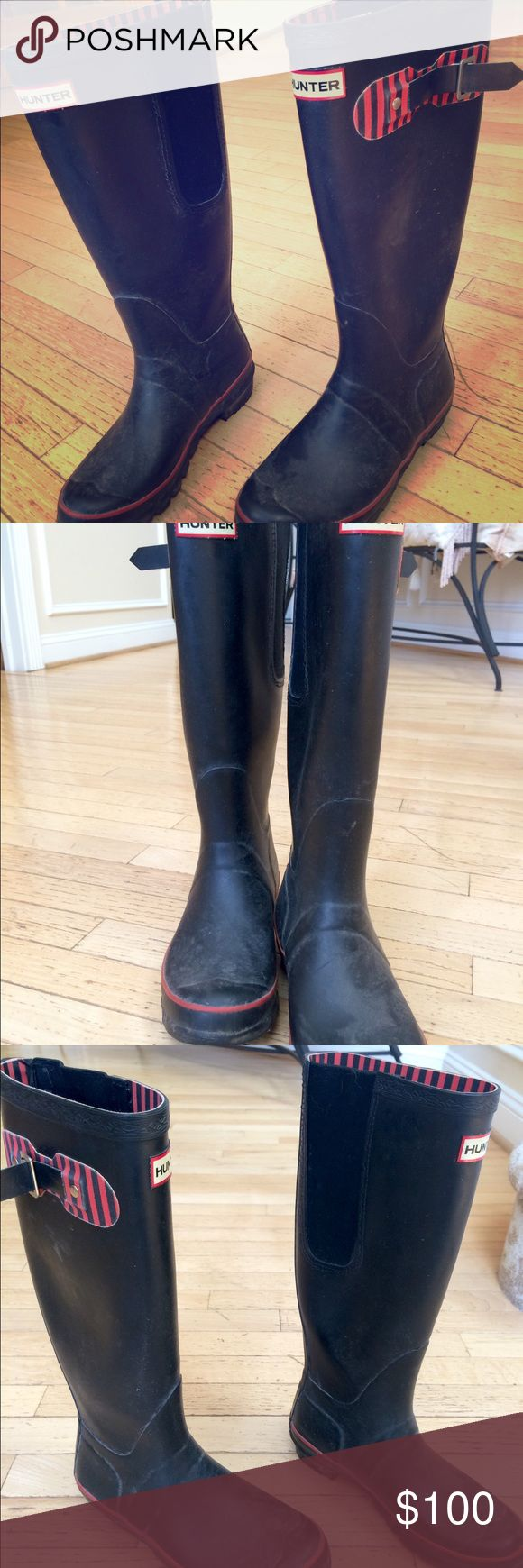 Women's Hunter Boots Black Women's Hunter Boots, Black, Size 7, they have a gusset (an elastic buckle to accommodate larger calves). $100 or best offer! Hunter Boots Shoes Winter & Rain Boots