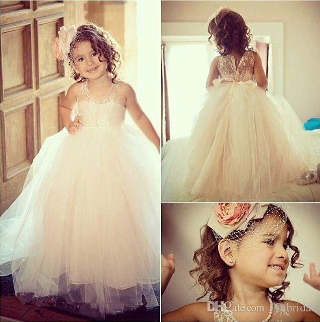 Beautiful Girls Dress For Wedding Flower Dresses Jewel Neckline Floor Length Sleeveless Lovely Princess Girls Pageant Gown Party Gowns Puffy Flower Girl Dresses Flower Girl Headpieces From Lynbridal, $30.15| Dhgate.Com
