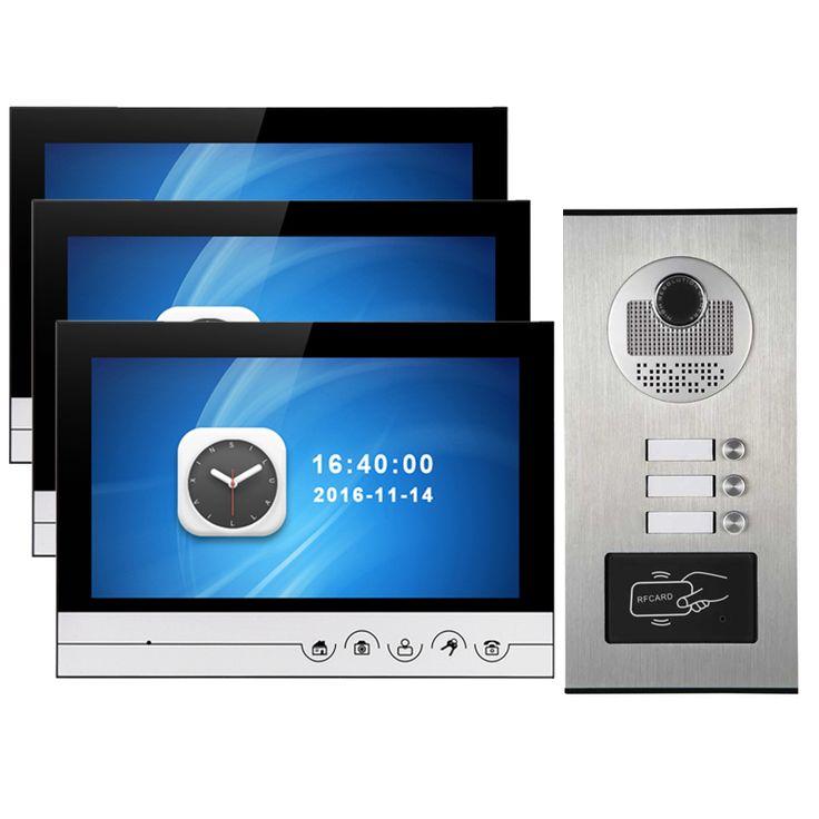 """3 Households Doorbell Video Interfone System 9"""" LCD Display IR Door Camera Wall Mounted For Door Access Control"""