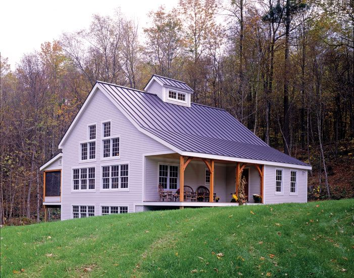 This small timber frame home features 1,800 SF and plenty of living space with its open concept layout.
