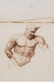 """Figure of a Man Torso"" pencil Drawing by Francesco Gonin,  Born in Torino 1808,  died in Giaveno 1889,  Italy  book of 32 pages of drawings size 29x21.5 mm $ 1,900 for the book 32 pages of drawings $ 60.00 each drawing"