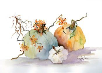 watercolor pumpkins | Watercolor Painting Of 3 Pumpkins by Barb Clarke