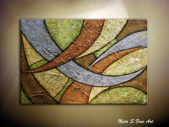 "Pesado textura decoración Original Painting.Modern abstracto arte Painting.Palette Knife.Mixed Media.Large Painting.Wall. 36 ""... - por Nata S."