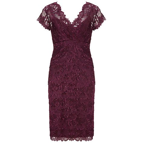 Buy Gina Bacconi Beaded Lace Dress, Wine Online at johnlewis.com