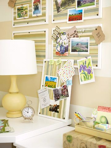 DIY bulletin board.  Picture frames with foam core & fabric!