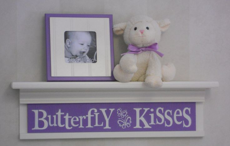 "Purple Baby Nursery - Butterfly Kisses - Sign on 24"" Shelf Linen White and Lilac Children Wall Art Nursery Decor"