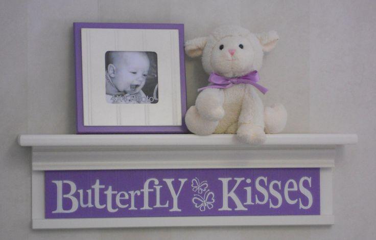 "Purple Baby Nursery - Butterfly Kisses - Sign on 24"" Shelf Linen White and Lilac Children Wall Art Nursery Decor"