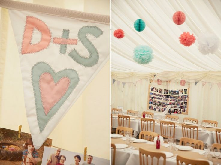 Blue and coral bunting & pompoms  | Photography by http://www.nataliejweddings.com/