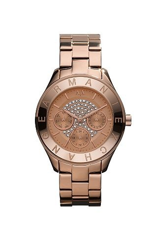 Rose Gold Pave Face Watch - Boyfriend Watches - Watches - Accessories - Armani Exchange