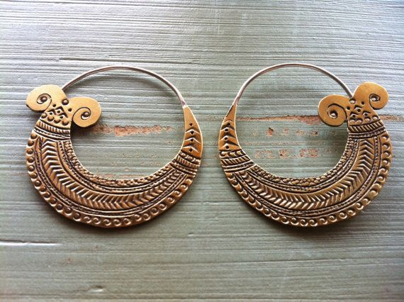 Boho brass indian earrings. Love!