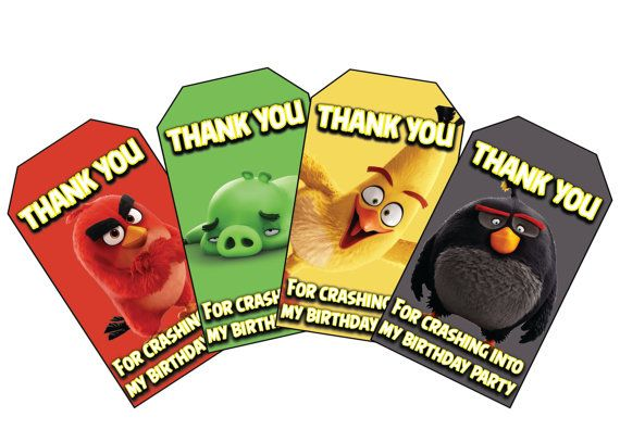 Angry Birds Movie Themed Birthday Favor Tags. Instant Download Angry Birds Birthday Favor Tags.Thank You For crashing into my birthday party