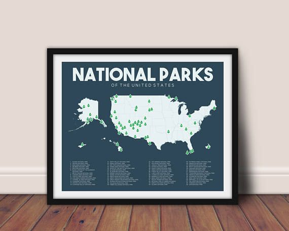 National Parks Map Printable 16x20 Gift For Etsy Adventure Wall Art National Parks Map Outdoor Art