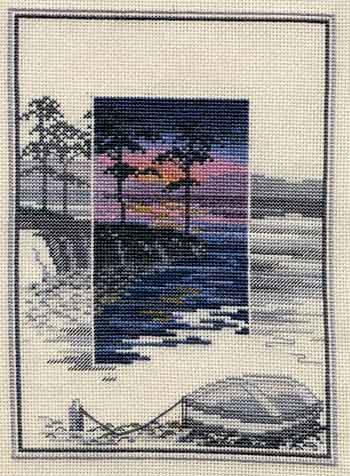 (Pinetree Bay - Sunsets Cross Stitch Kit from Derwentwater Designs) I like the way this has a monochromatic border