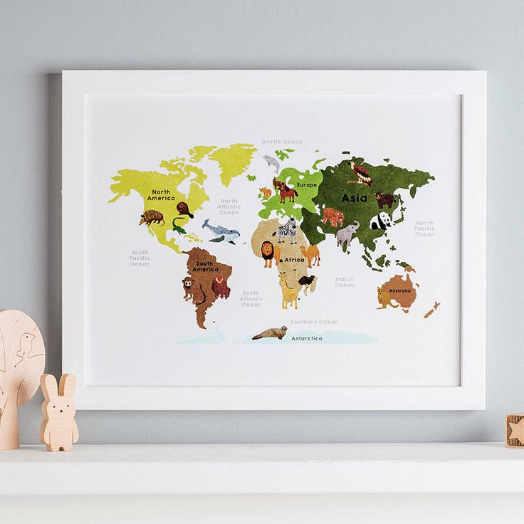 Animal Map Of The World Illustration Print