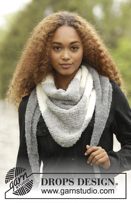 Warm Mist by DROPS Design. Beautiful #shawl with stripes. Free #knitting pattern