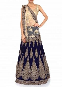 Lehenga saree adorn in gold and navy blue with zardosi embroidery only on Kalki