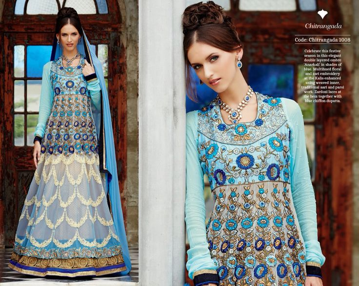 Celebrate this festive season in this elegant double layered ombre 'Anarkali' in shades of blue. Multihued floral and zari embroidery at the Kalis enhanced using weaved inner, traditional aari and parsi work. Zardosi laces at the hem together with blue chiffon dupatta.