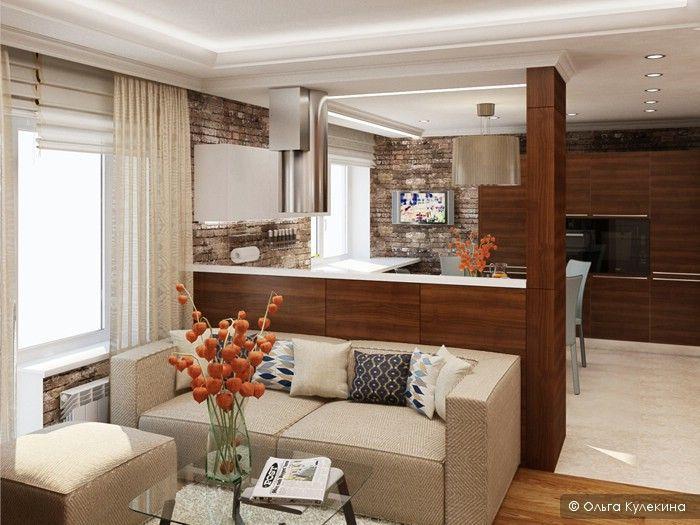 Divider between kitchen and living room / Кухня-столовая-гостиная