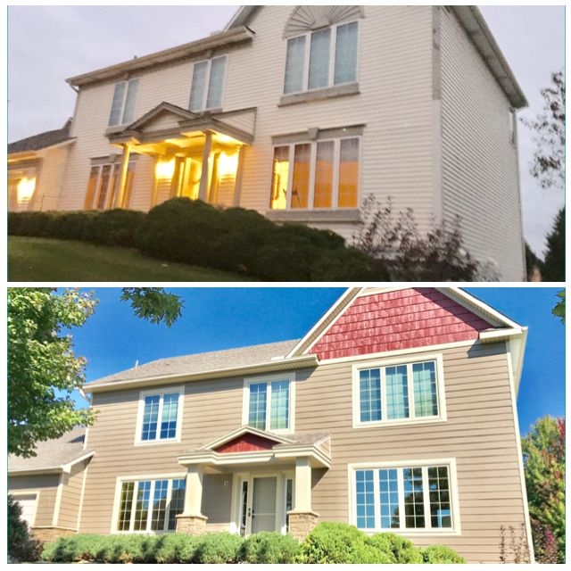 This exterior transformation included lp smartside versetta stone seasonguard windows and new gutters
