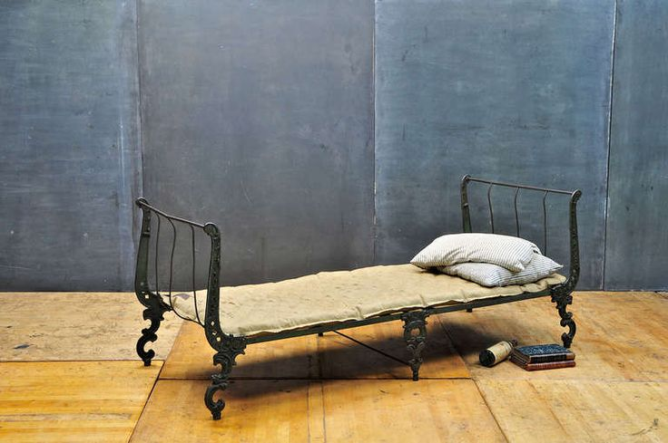 High Victorian Cast Iron Campaign Folding Bed, Daybed | From a unique collection of antique and modern day beds at http://www.1stdibs.com/furniture/seating/day-beds/high-victorian-cast-iron-campaign-folding-bed-daybed/id-f_826665/