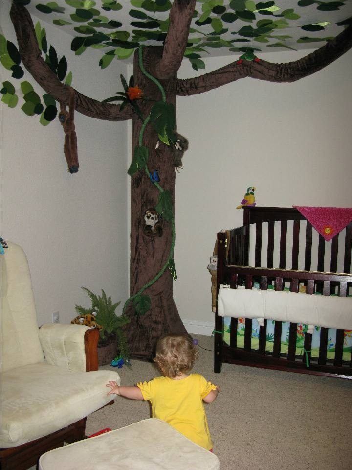 We Made This Tree For Our Daughter S Rainforest Themed Room And Accessorized With Stuffed Animals Fake Plants That Represent Actual Sp