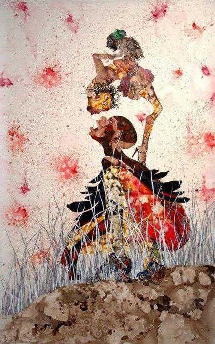 Wangechi Mutu (Kenyan, lives in NYC) Collage/ mixed media -surreal, hybrid creatures, warrior-like females -post-imperialism, feminism, globalisation