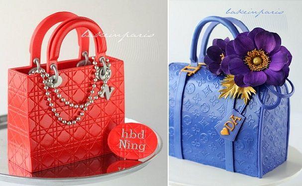 a luxurious red Dior and a smart blue LV handbag cake.