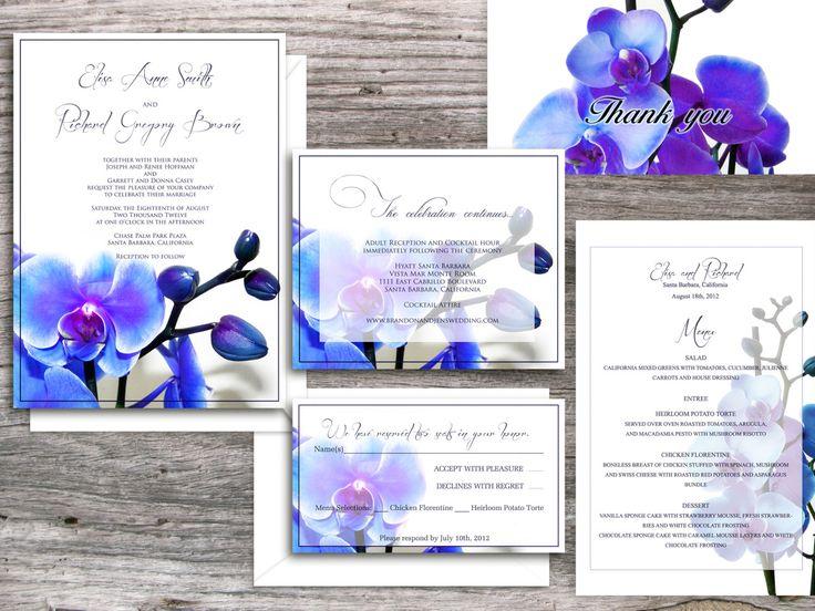 Wedding Invitations printable templates - Santa Clara Blue Orchid Suite (invitation and rsvp card). $50.00, via Etsy.