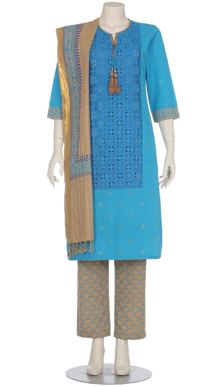 Sky Blue Printed and Embroidered Hand Loomed Cotton Shalwar Kameez Set