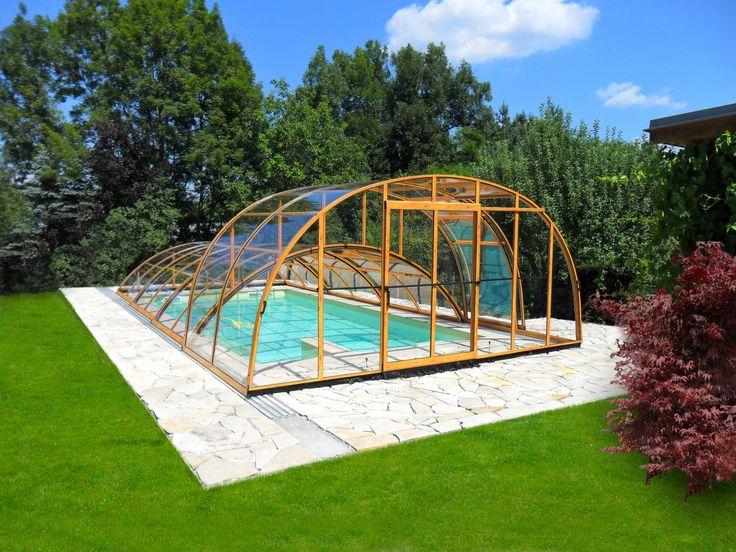 Luxury wood-like imitation on variable swimming pool enclosure COMBI.