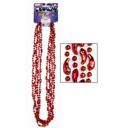 Cinco de Mayo Party Wear Red Chili Pepper Bead Necklaces Image