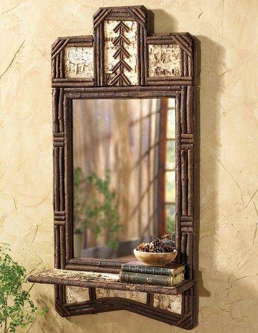 Black Forest Decor- Adirondack Twig Mirror & Shelf