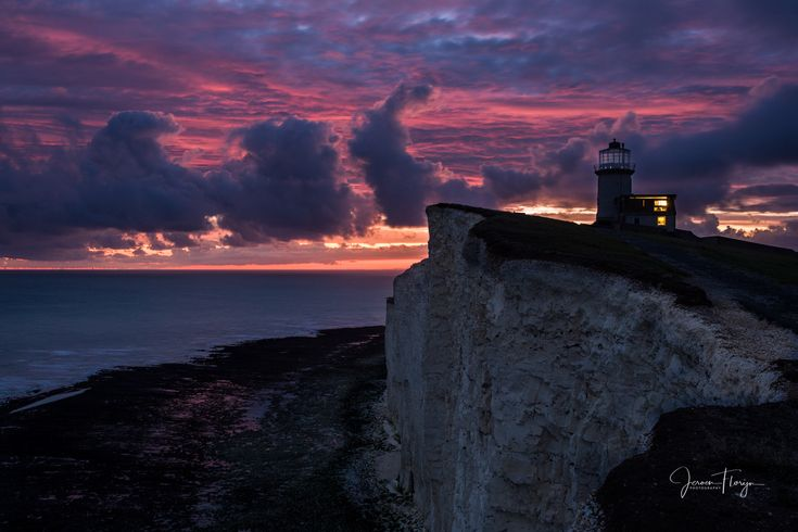 Belle Tout Lighthouse - Belle Tout Lighthouse at sunset, UK.