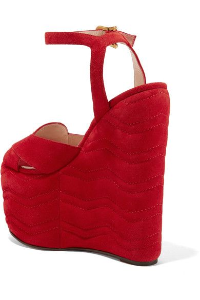 Gucci - Quilted Suede Wedge Sandals - Red - IT39.5