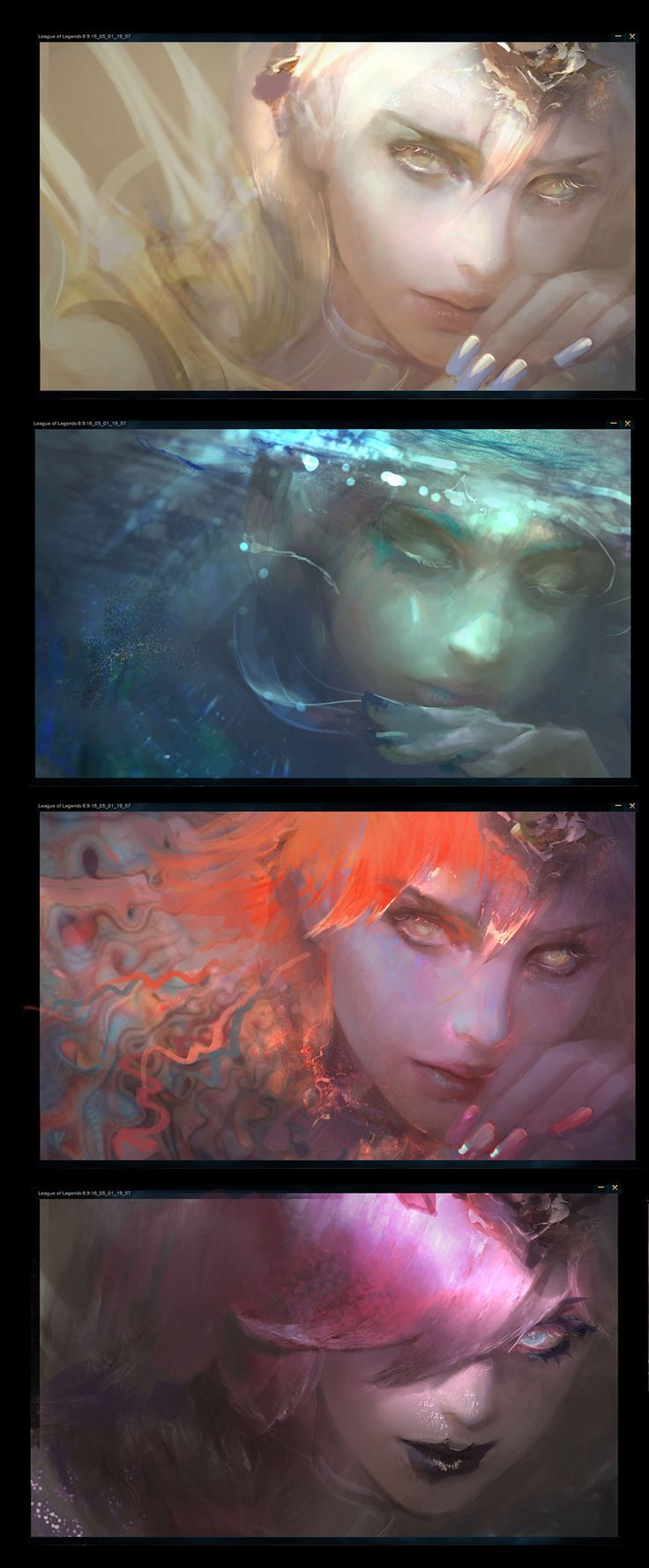 Did these for League of Legends ultra skin Elementalist Lux, these are promo arts + Login screen design WIPs.  Thanks for awesome mograph artists Adam Oliver and Timothy Weiser, they created my favorite Login screen ever!  Check it out:   https://youtu.be/WmpNDXxNpu4  This skin includes 10 forms, the goal of the promo art is presenting her transformation between different forms. PS: Paul Kwon who is the concept artist designed the beautiful skins.