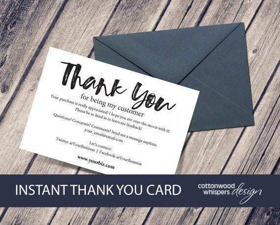 Instant Business Thank You Cards Editable Pdf Printable Packaging Inserts For Online Shops Rese Thank You Cards Business Thank You Cards Free Thank You Cards