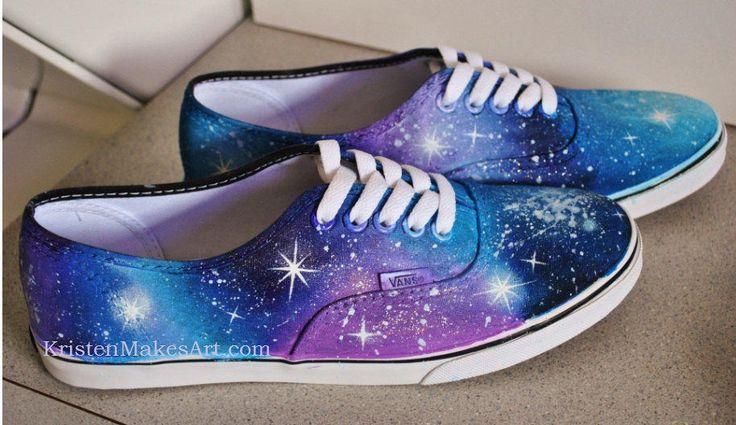 Homemade Galaxy shoes!     Products I used: Black Shoes (Urban Outfitters) $15 Sponge (Michaels) $0.10 Sponge/Paintbrush set (Michaels) $2.99 Paper Plates Toothbrush Blue Tape Craft Smart Acrylic Paint (Michaels) $0.59 -Grape Taffy -Plum -Navy -Island Blue -Light Pink -Crystal -Snow White   Find out how to make these amazing shoes right at home!  https://www.youtube.com/watch?v=hdAosXPGfkM