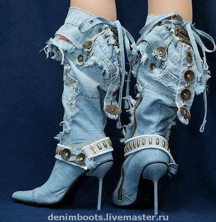 """Обувь ручной работы. Заказать Сапоги джинсовые """"Соблазн"""" на шпильке 9см.. Denim Boots (джинсовая обувь). Ярмарка Мастеров. джинс"""